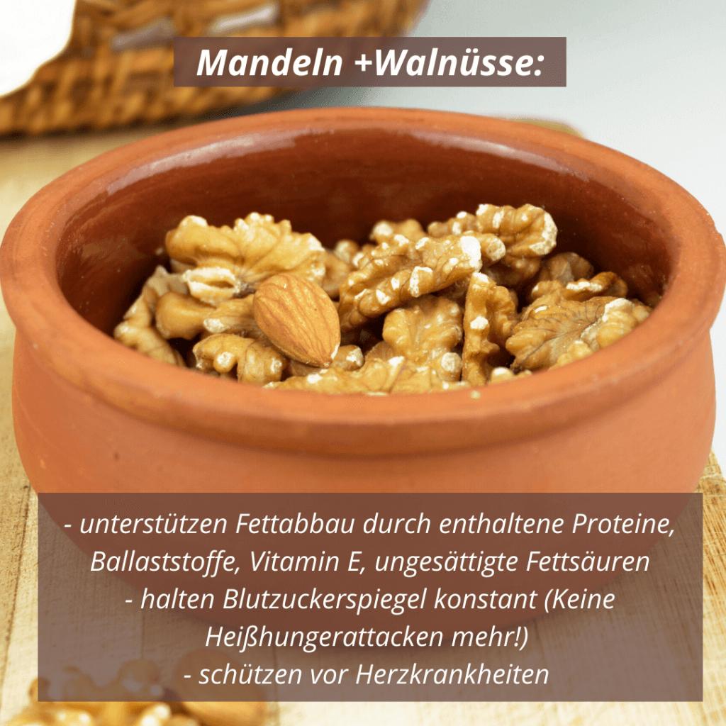 Mandeln und Walnüsse sind sehr gesund und unterstützen beim Fettabbau!
